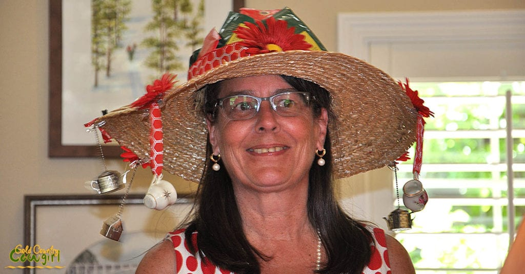 This whimsical hat created by Kathy was the very popular winner