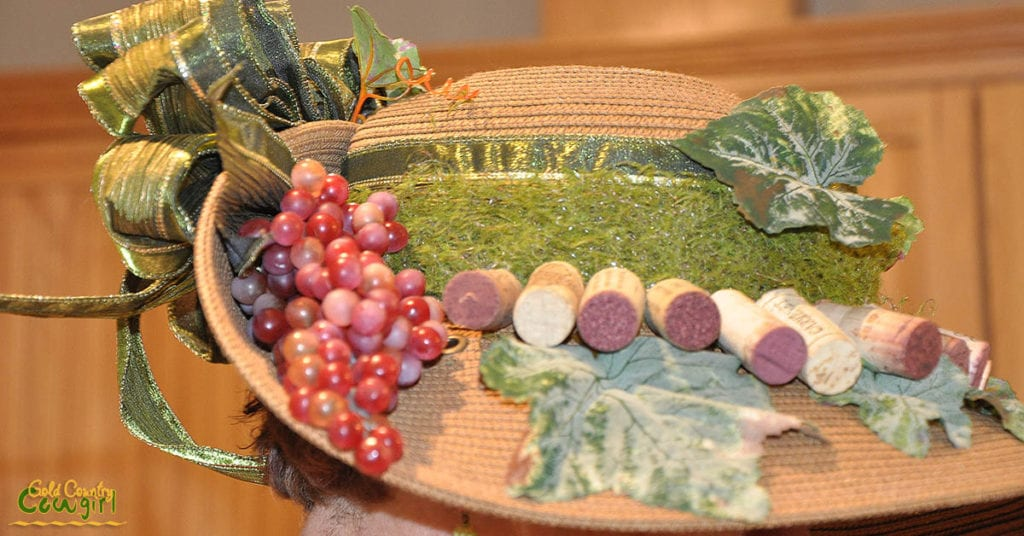 Third place hat with wine corks and grapes