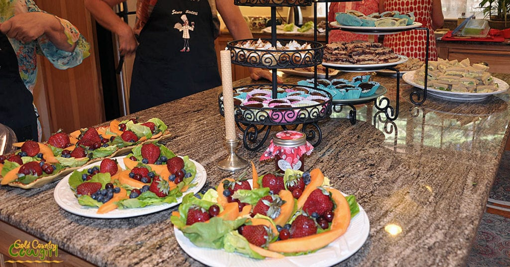 tea party fruit and dessert