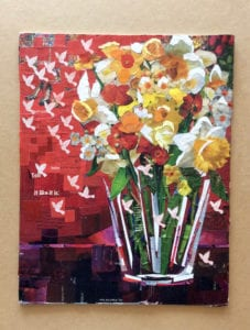 Flowers in vase collage art by Anje Olmstead