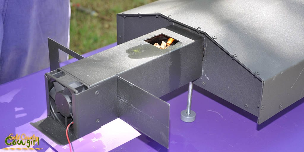 Wood pellets in the outdoor pizza oven