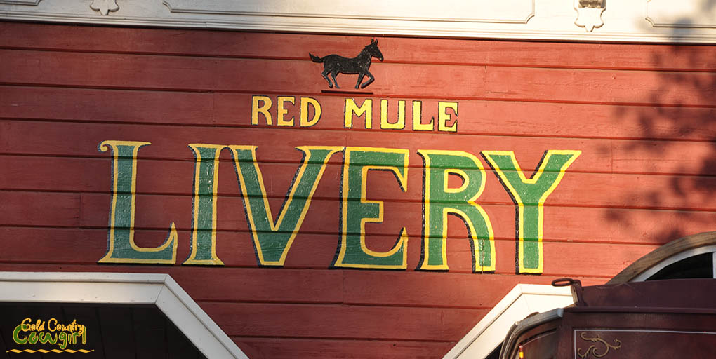Red Mule Livery sign at Scofield's Red Mule Ranch
