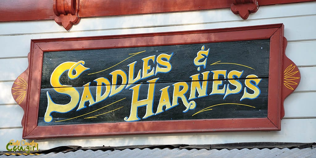 Saddles & Harness sign at Scofield's Red Mule Ranch