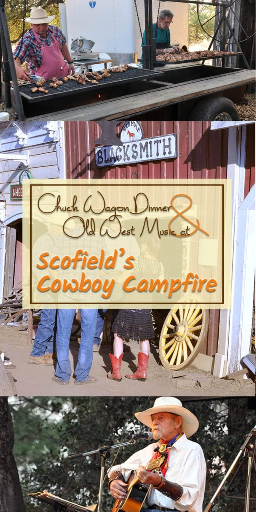 Experience the old American West at Scofield's Cowboy Campfire in Fiddletown, CA, with a chuck wagon dinner and cowboy music from world-renowned performers.