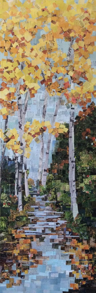 Tall trees and stream collage by Anje Olmstead