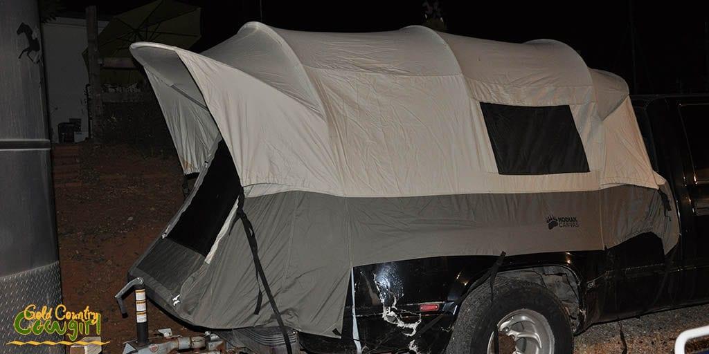 Complete set up of Kodiak Canvas truck tent