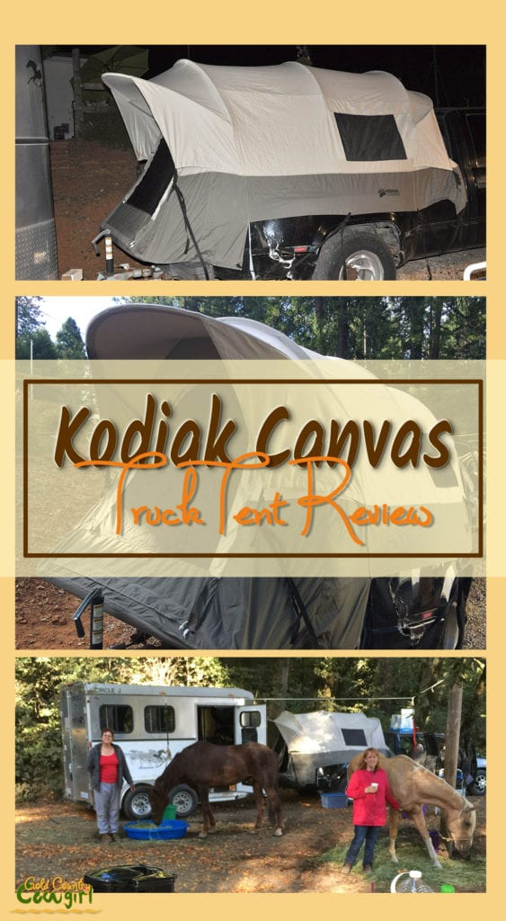 Photos of camping with the Kodiak Canvas truck tent with text overlay: Kodiak Canvas Truck Tent Review