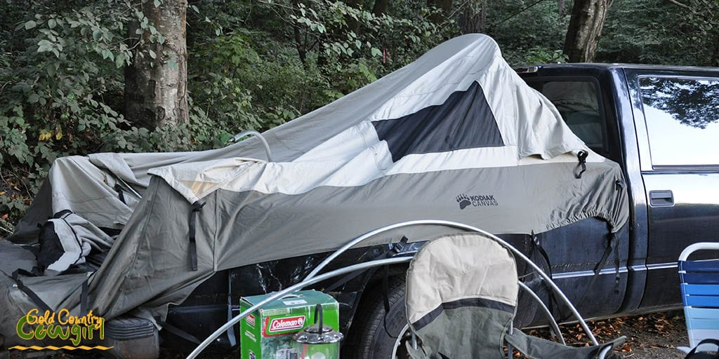 Putting tent up at campground