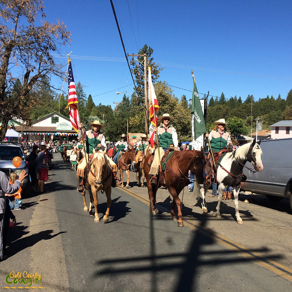 Cowgirls carrying flags