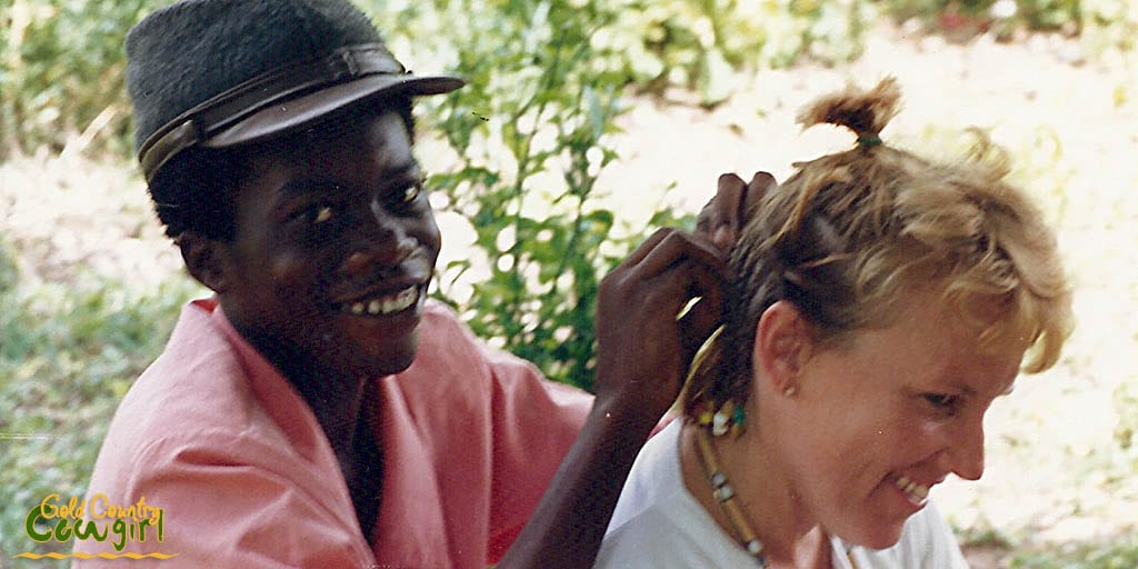 Getting cornrows in Jamaica in 1987!