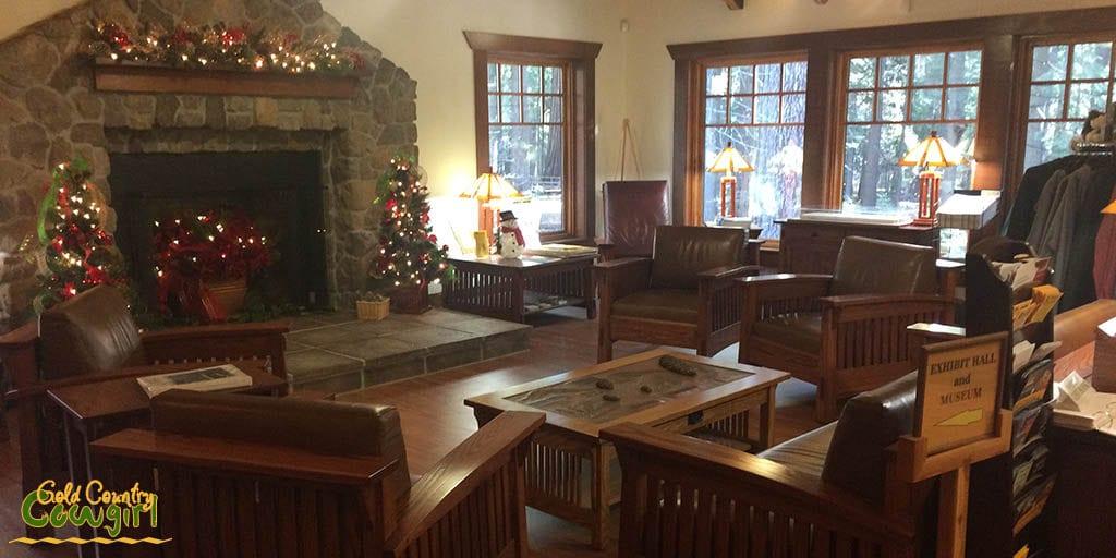 interior of visitor center at Calaveras Big Trees State Park