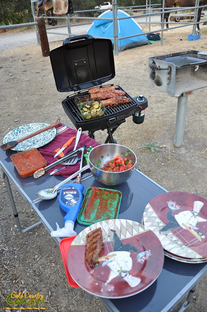 Food on the barbecue at our horse camp
