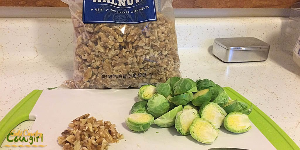 Prepped Brussels sprouts and walnuts