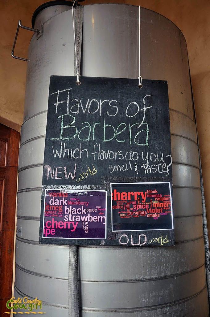 Flavors of Barbera sign