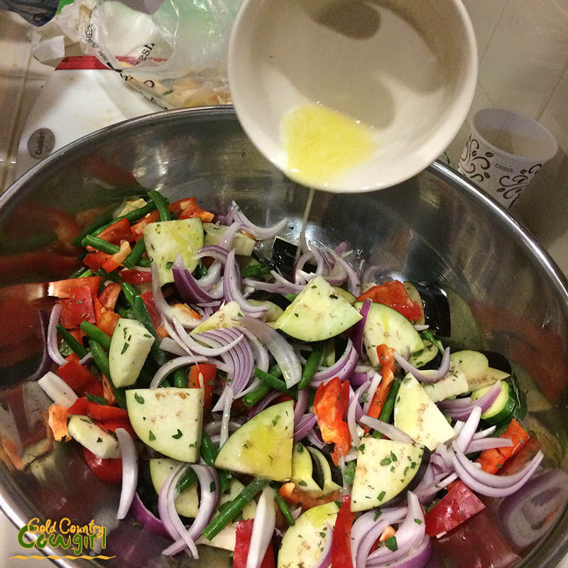Mixed raw veggies for sheet cooking