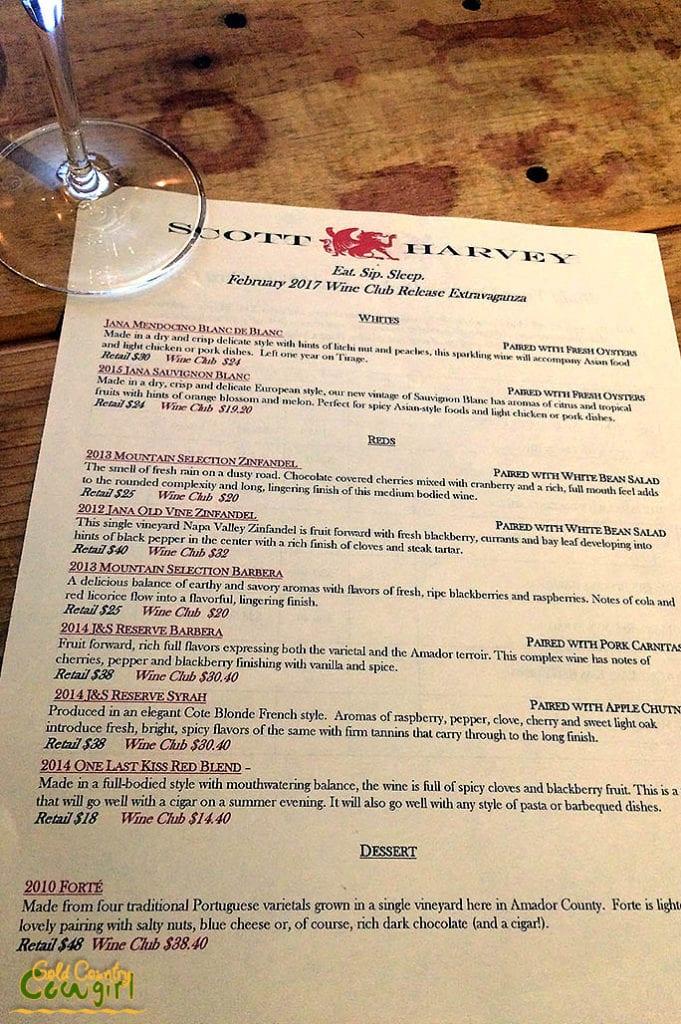 Wine and Food Pairing menu -- Scott Harvey and Taste