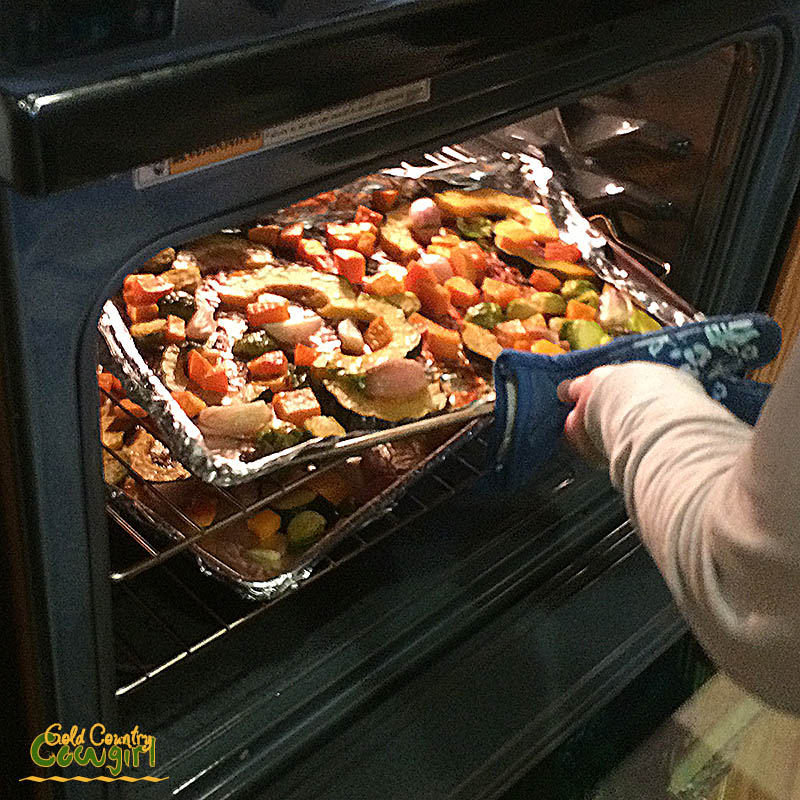 Mixed vegetables in the oven on sheet trays