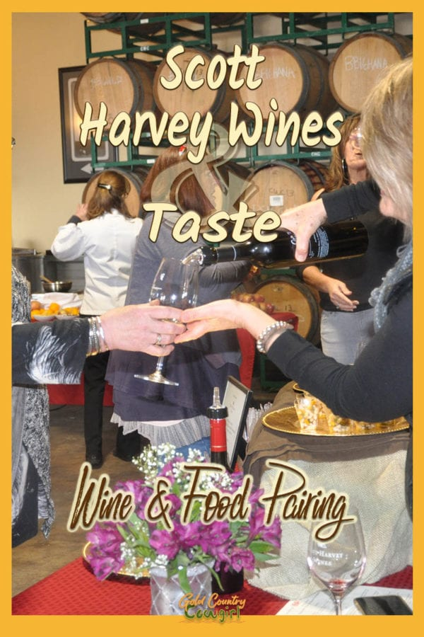 woman pouring wine with text overlay: Scott Harvey Wines & Taste Wine and Food Pairing