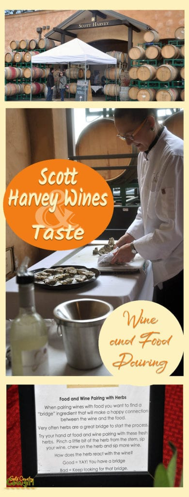 three photos from wine and food pairing event with text overlay: Scott Harvey Wines & Taste Wine and Food Pairing