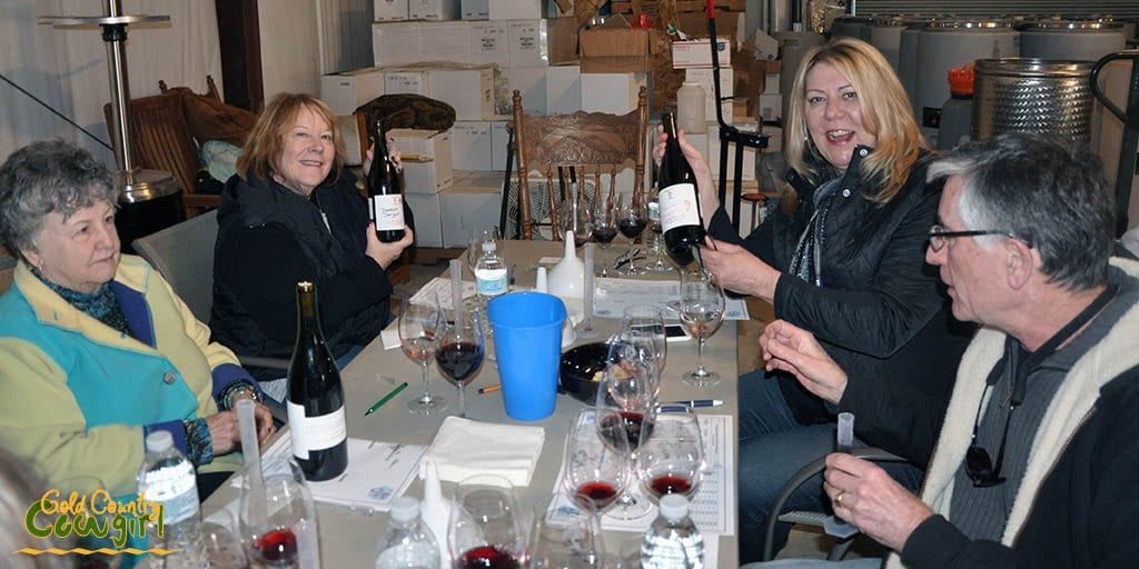 Debbie and Frannie showing off their bottles from our wine blending class
