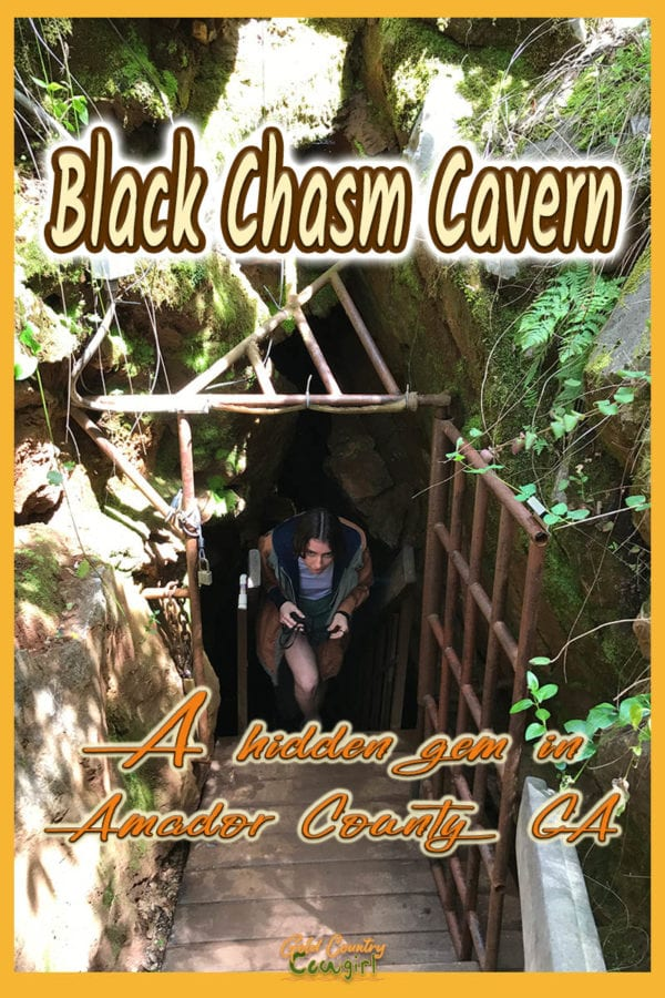 people coming up the stairs out of the cavern with text overlay: Black Chasm Cavern a hidden gem in Amador County