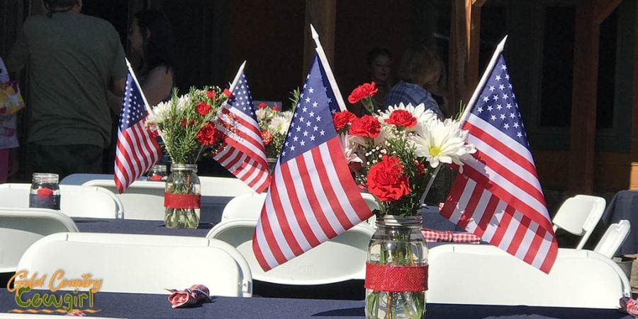 Flags and flowers for the Memorial weekend celebration - Dog & Pony Ranch: Luxurious Gold Country Vacation Rental