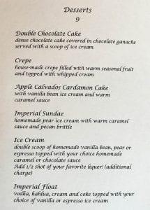 Imperial Hotel dessert menu