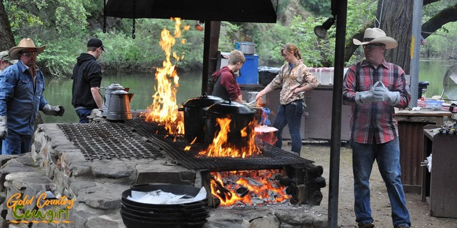 kettles on the fire at Saturday night cookout at Roaring Camp -- high on my list of best things to do in Amador County