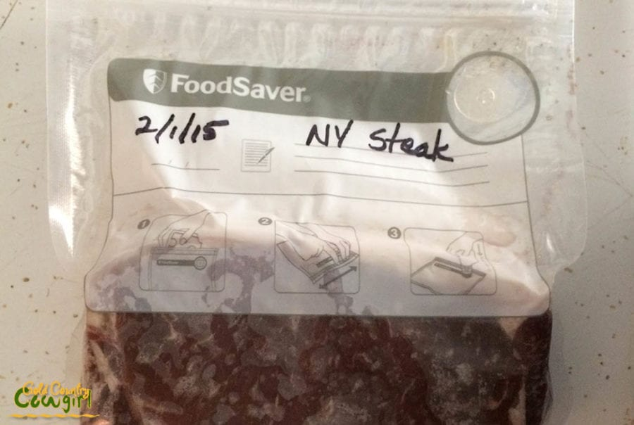 FoodSaver Review: My Favorite Money-Saving Appliance-NY steak in FoodSaver vacuum seal bag
