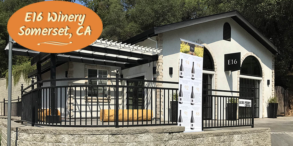 The new E16 Winery tasting room in Somerset, CA, has an inviting ambiance, friendly staff and delicious wine from both the E16 and Firefall labels.