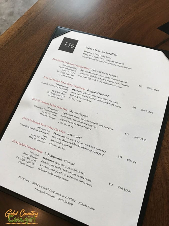 E16 Winery -- New Tasting Room in Somerset, CA - tasting menu