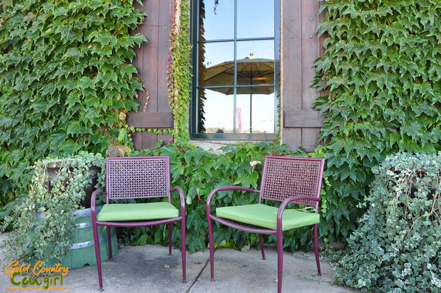 Chairs on the front patio entry at Wilderotter Vineyard