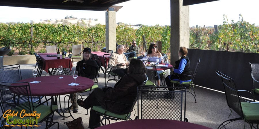 Outdoor patio surrounded by the vineyards