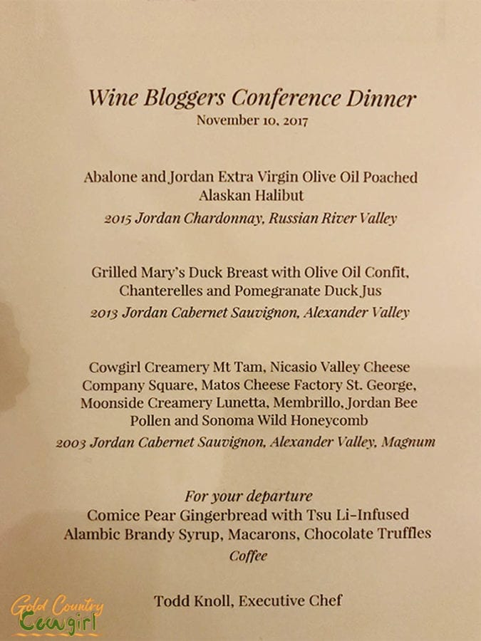 Wine Bloggers Conference Food -- Dinner Menu at Jordan Winery