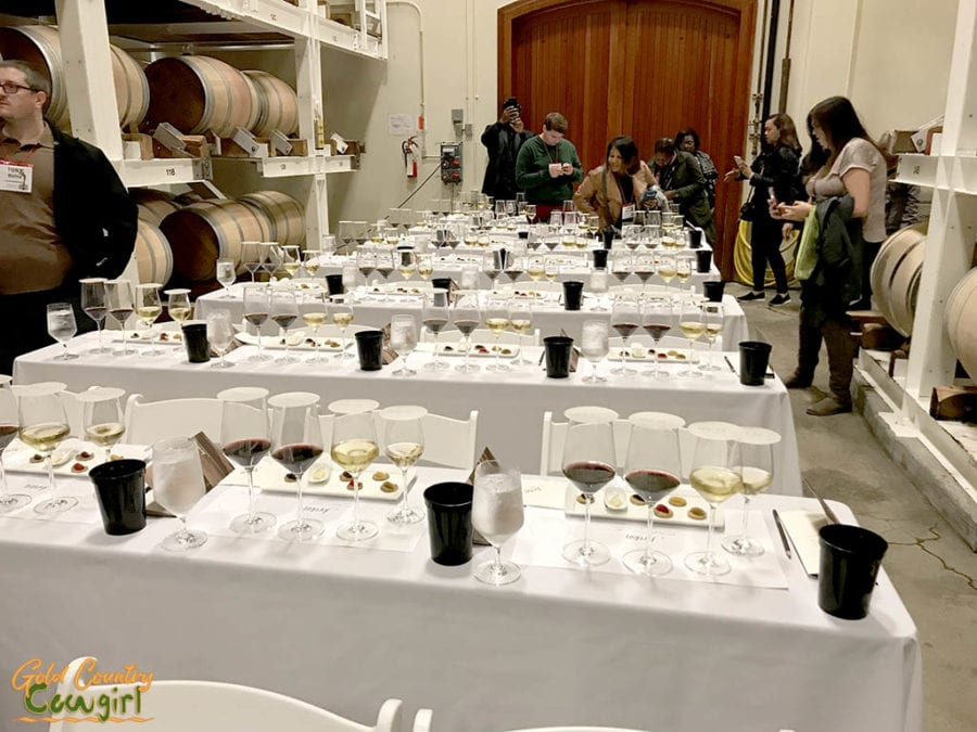 Caviar and wine pairing in barrel room