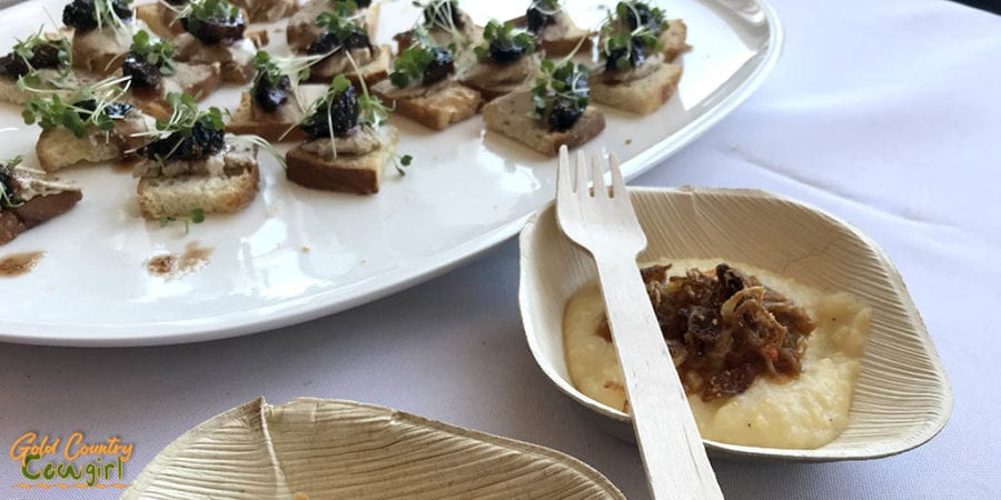 Foie gras pate with figs marinated in V. Sattui port served on foccacia crostini and creamy polenta with veal osso buco from V. Sattui Estate Chef Gerardo Sainato