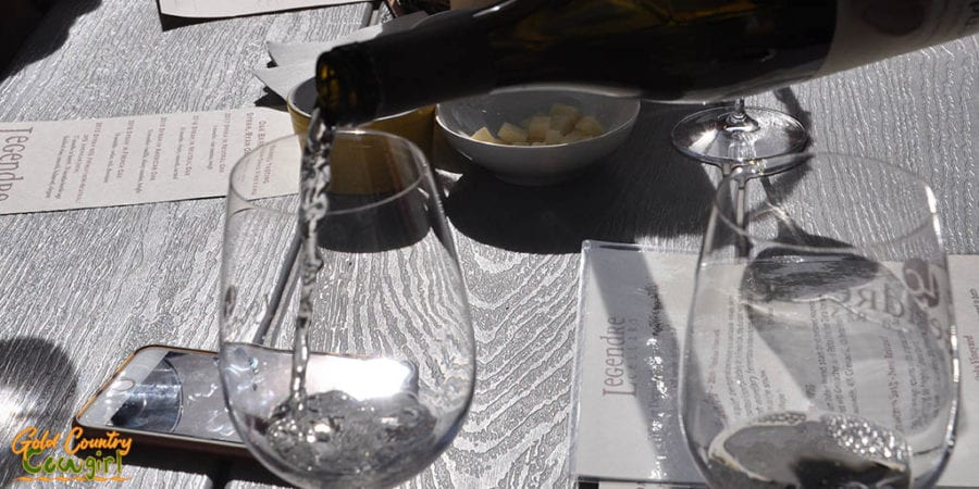 Wine Tasting on the creek side patio and Legendre Cellars in Amador City
