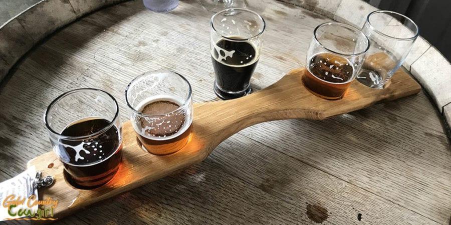 Beer flight at Amador Brewing