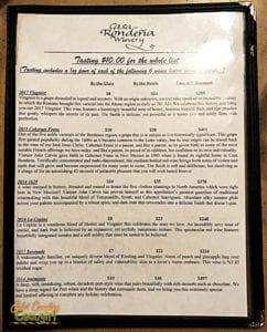 Casa Rondeña Winery wine menu