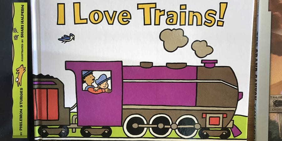 Cover of book I Love Trains in gift shop at Grand Canyon Railway