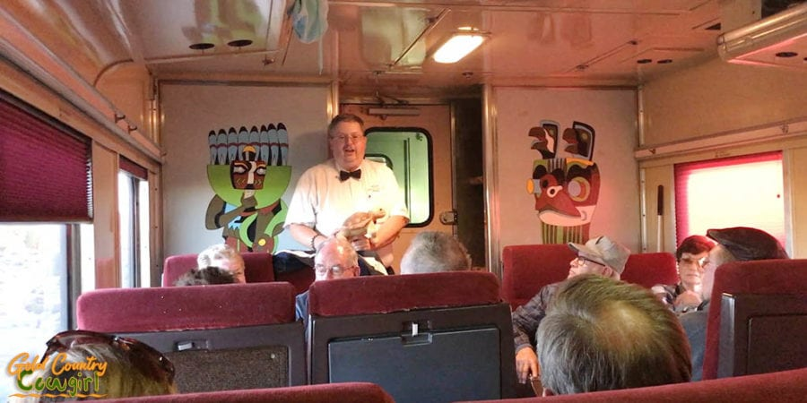 John Kistler and tortoise on Grand Canyon Railway
