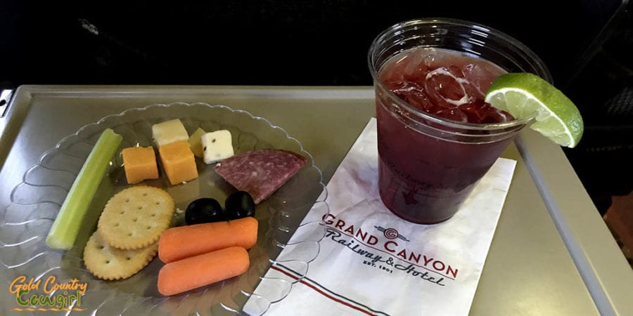 Snacks and Woo Woo cocktail on Grand Canyon Railway