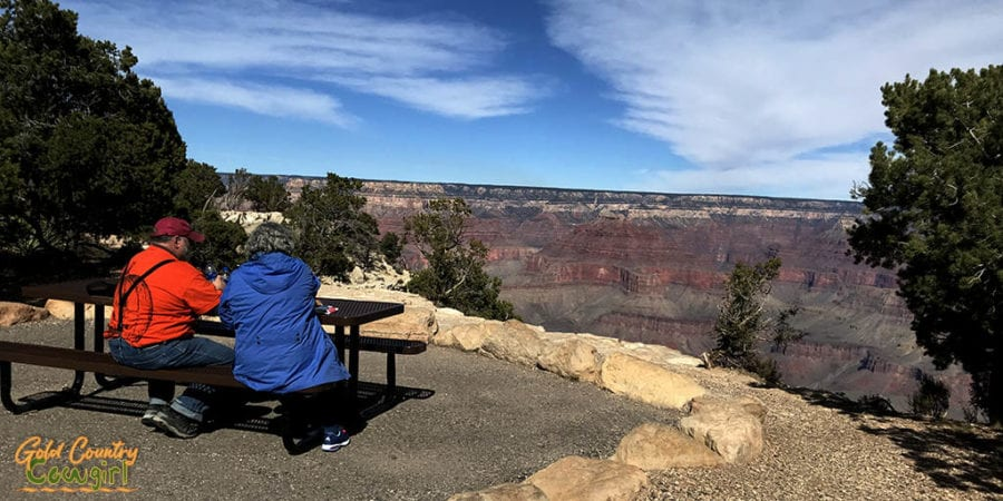 Picnickers overlooking the Grand Canyon