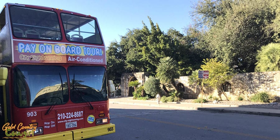 Hop-on, hop-off bus parked next to the Alamo