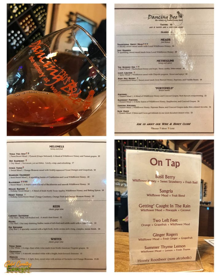 Wine glass and menus at Walker Honey Farm and Dancing Bee Winery