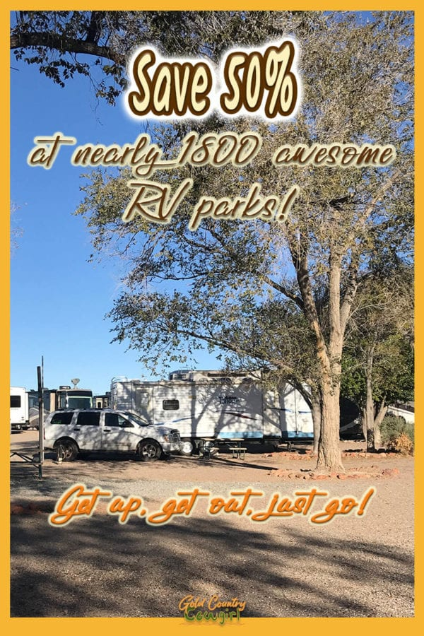 RV in campground with text overlay: save 50% at nearly 1800 awesome RV parks
