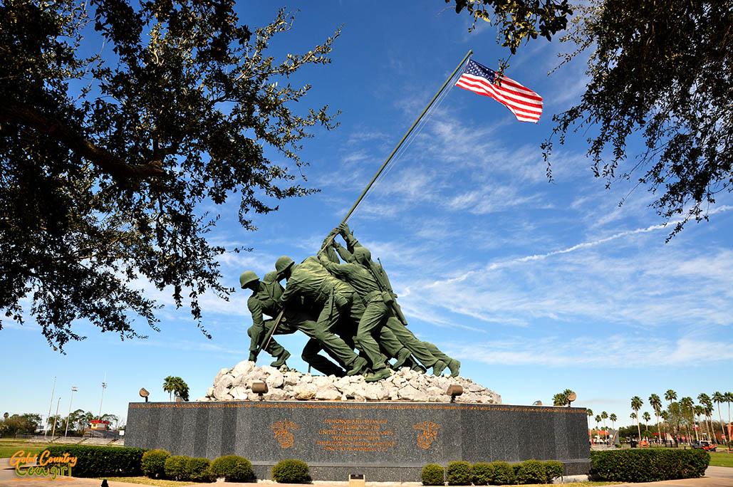 Iwo Jima Monument through trees