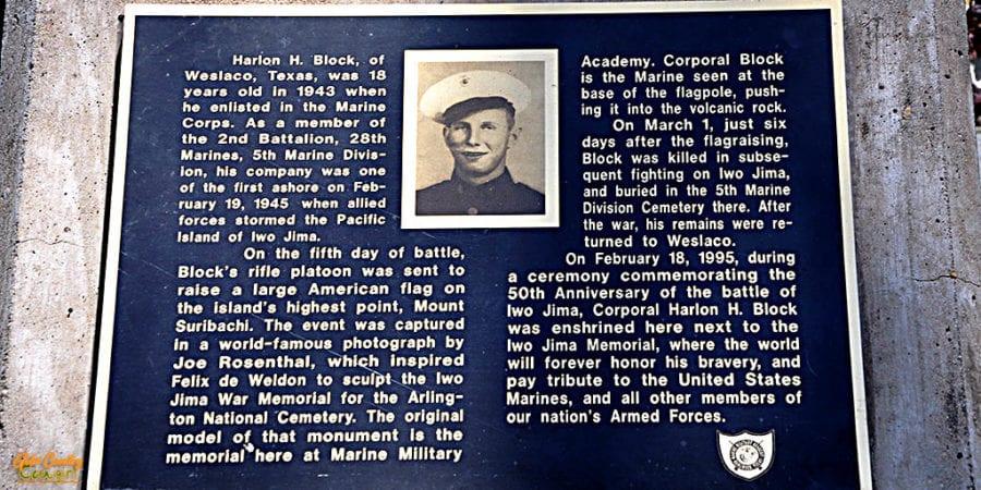 Marker CU Cpl Harlon H. Block, USMC