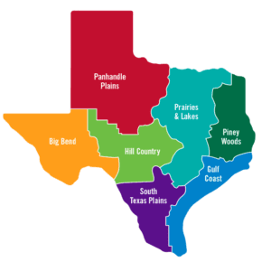 map of regions from https://www.traveltexas.com/places-to-visit/