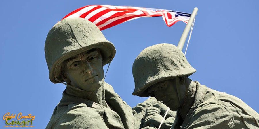 Iwo Jima Monument close up on Block